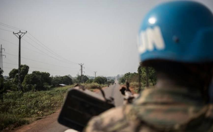 Un Casque bleu de la Minusca en janvier 2021 en Centrafrique. afp.com - FLORENT VERGNES