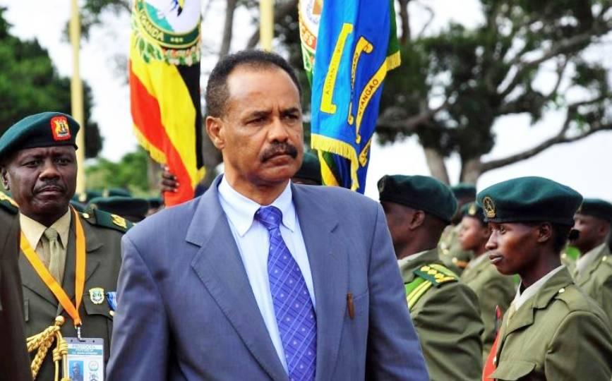 Le président de l'Erythrée Issaias Aferworki en visite à Entebbe, en Ouganda, le 19 août 2011. afp.com - Peter BUSOMOKE