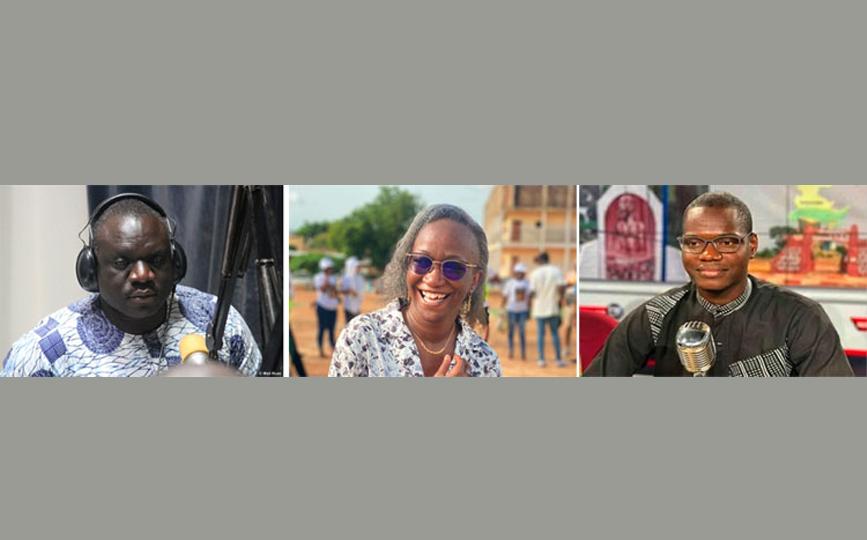 De gauche à droite: Kassim Traoré, Mariam Diawara dite Tatou solidarité, Malick Konaté